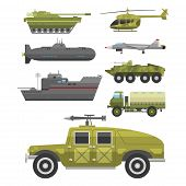 Military technic army war tanks and industry technic armor defense vector collection. Transportation weapon technic exhibition international fighting conflict weaponry system. poster