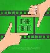 Hands make a rectangular frame with film on the background. Concept for photographer, filmmaker, cameraman. Flat vector illustration, poster
