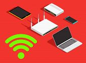 Technology concept background, wireless devices sharing wifi network. Bandwidth connection wi-fi icon, tablet, smartphone, modem, router vector illustration. poster