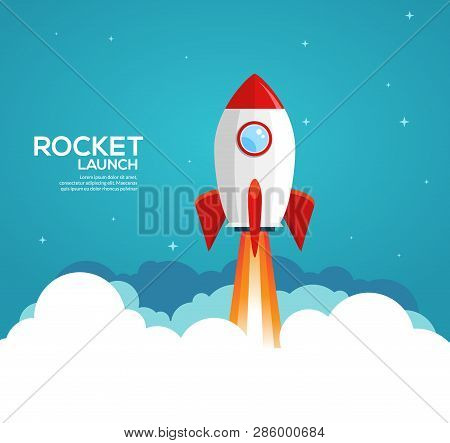 Rocket Launch Illustration. Product Business Launch Concept Design Ship Vector Technology Background