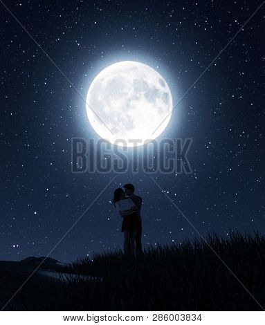 Love Couples Under The Moonlight,3d Rendering Conceptual Background