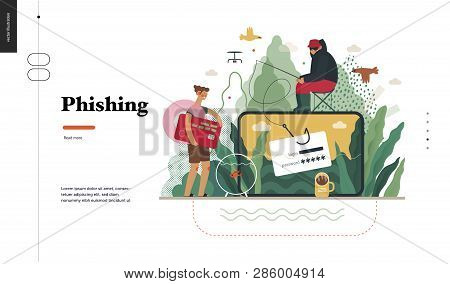 poster of Technology 2 - Phishing - flat vector concept digital illustration of phishing scam metaphor. Hacker fraud protection, password steal, data phishing. Creative landing web page design template