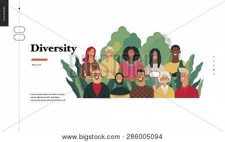 Technology 2 - Diversity - Modern Flat Vector Concept Digital Illustration Of Various People Present