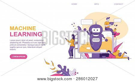 Machine Larning. Vector Flat Illustration Banner Small People Around Computer On Screen Artificial I