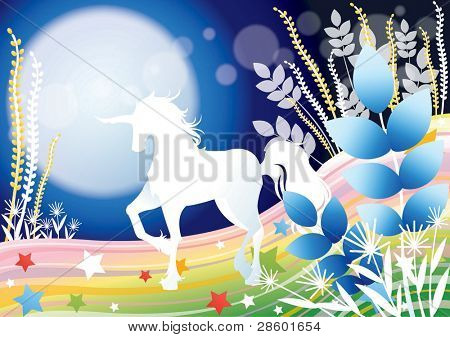 Fantastic Fairy Tale with a Fabled Unicorn in the moon light on beautiful rainbow field