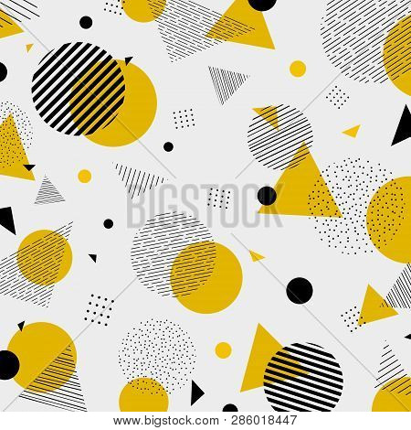 Abstract Colorful Geometric Yellow Black Colors Pattern Modern Decoration. You Can Use For Artwork D