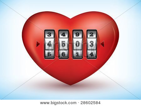 Vector illustration of a heart with a combination lock poster