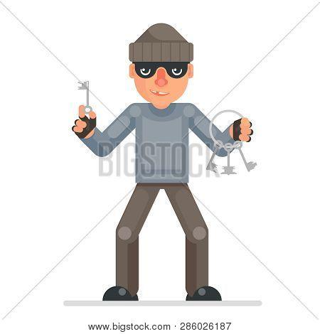 Housebreaker Thieves Keys Picklock Hand Evil Greedily Thief Cartoon Rogue Bulgar Character Flat Desi