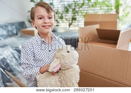Smiling boy with cuddly toy when moving with many moving boxes