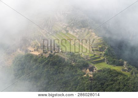 Ancient Machu Picchu Ruins Taken From Above