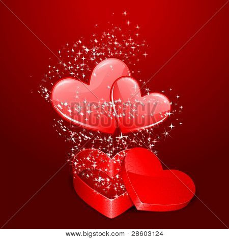 illustration of pair of heart coming out from gift box with sparkeling
