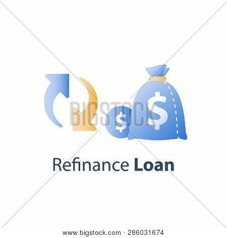 Money Bag And Circle Arrow, Financial Services, Loan Refinance, Savings Fund, Investment Return, Vec