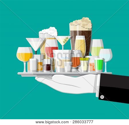 Alcohol Drinks Collection In Glasses In Hand. Vodka Champagne Wine Whiskey Beer Brandy Tequila Cogna