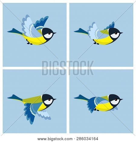 Vector illustration of cartoon flying Great Tit sprite sheet. Can be used for GIF animation poster