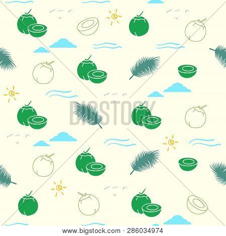 Young Coconut Seamless Pattern Background For  Any Printing Media Ie Backdrop, Fabric, Gift Wrap Pap