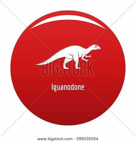 Iguanodone Icon. Simple Illustration Of Iguanodone Vector Icon For Any Design Red