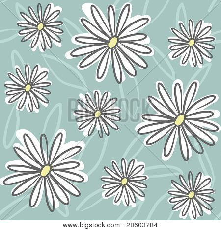floral seamless pattern with daisy drawing, vector illustration