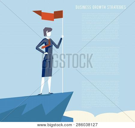 Business Triumph Woman Top Flag Point Goal Achievement Businesswoman Character Symbol Mountain Cloud