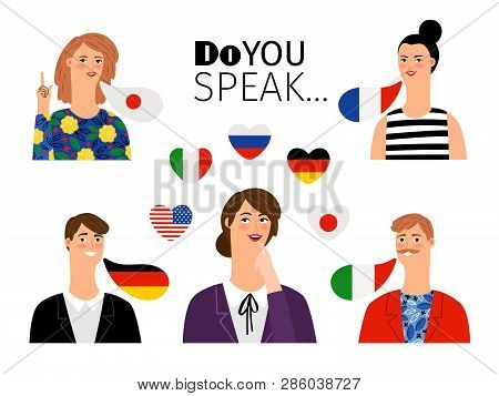Foreign Language School Persons. International Languages People Teaching Communication Translations,