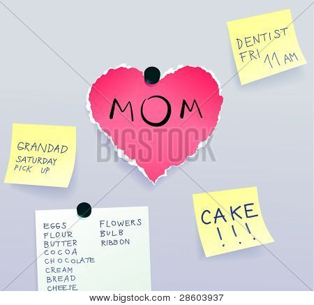 heart made of torn paper with message for mom surrounded by sticky notes, Mother´s Day vector illustration