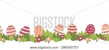 Easter Eggs Seamless Vector Border. Easter Eggs, Flower Bushes Repeating Background. Cartoon Style.