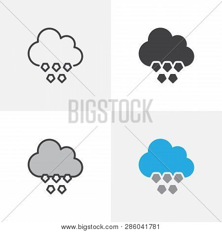 Cloud With Hail Icon. Line, Glyph And Filled Outline Colorful Version, Shower Of Hail Outline And Fi