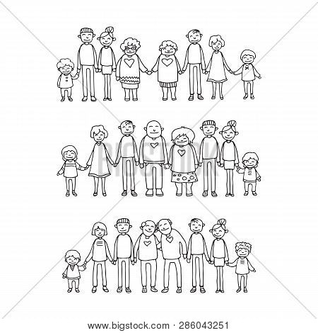 Happy Family Symbols. Grandparents And Parents With Kids Isolated On White Background. Honosexual Fa