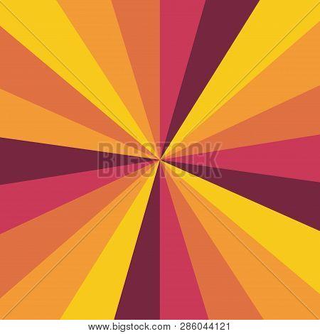 Sunburst Background Vector Pattern With A Vintage Color Palette Of Swirled Radial Striped Design. Vi