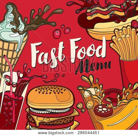 Vector Cover For Fast Food Menu With Ice Cream, Cola, Burger, Pizza, French Fries And Hotdog In Retr