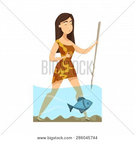 Isolated Object Of Woman And Neanderthal Logo. Collection Of Woman And Fish Stock Symbol For Web.