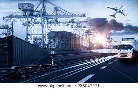 Logistics And Transportation Of Container Cargo Ship And Cargo Plane With Working Crane Bridge In Sh