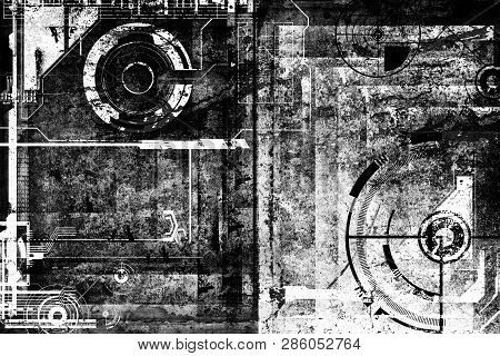 Abstract Grunge Futuristic Cyber Technology Background. Sci-fi Circuit Design. Drawing On Old Grungy