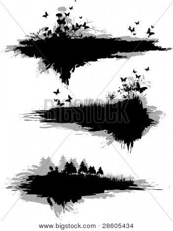 Black grange vector banner with nature elements