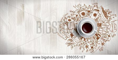 Coffee Concept On Wooden Background - White Coffee Cup, Top View With Doodle Illustration About Coff