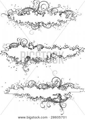 Grunge banner with elements of ornament