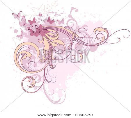 Glamour vector composition with butterflies