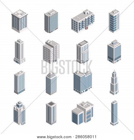 Vector Isometric City Building Set. Vector Isometric City Building Icon Isolated On White Background