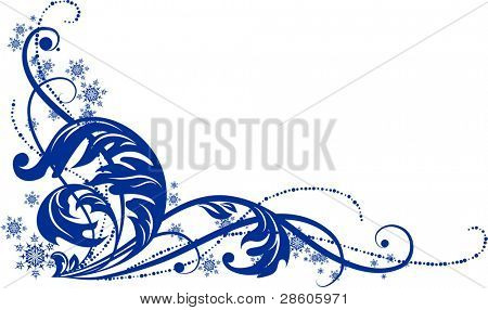 Vector blue ornament with snowflakes