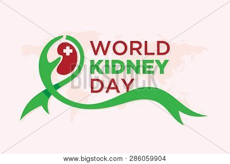 World Kidney Day Banner With Ribbon And World Map Background. Element Design For World Kidney Day. V