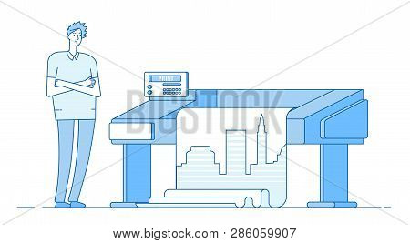 Man Works With Plotter. Printing Wide Format Large Banner. Print Office Publishing House Vector Conc