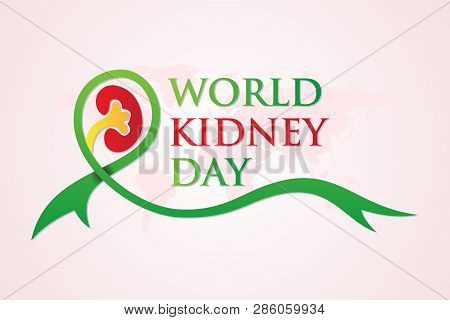 World Kidney Day Banner With Ribbon And World Map Background In Flat Style. Element Design For World