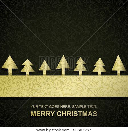 Christmas card with gold paper Christmas Trees, vector eps8 illustration