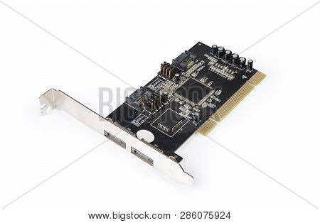 Used disk array controller internal card for SATA hard disk drives and PCI bus on a white background poster