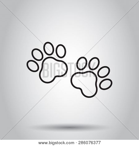 Paw Print Animal Icon In Line Style. Vector Illustration On Isolated Background. Business Concept Do