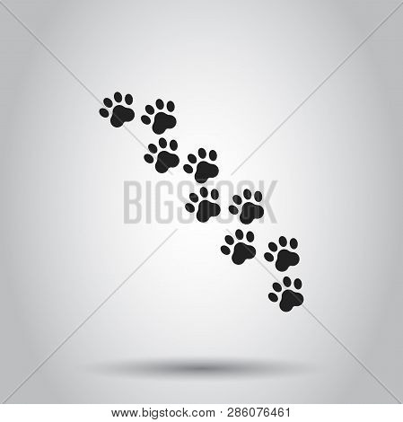 Paw Print Animal Icon. Vector Illustration On Isolated Background. Business Concept Dog Or Cat Pawpr