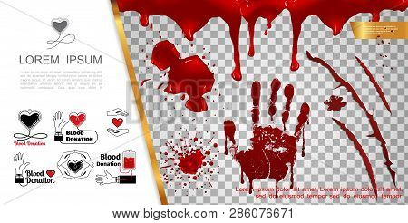 Realistic Blood Elements Concept With Bloody Splashes Handprint Blots Drips Splatters And Blood Dona