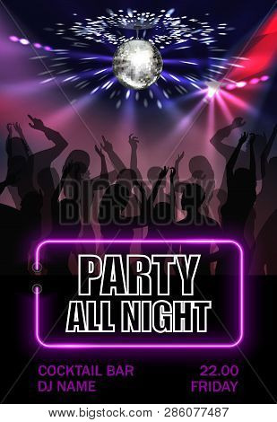 Realistic Night Party Advertising Poster With Dancing People Crowd Under Sparkling Disco Ball Vector