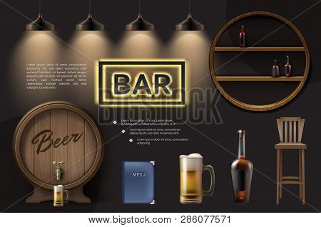 Realistic Pub Elements Composition With Wooden Barrel Beer Glass Chair Menu Lamps Bottles On Shelves