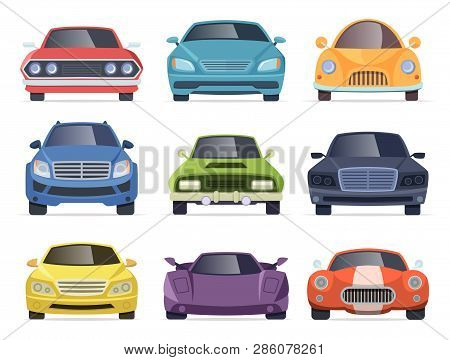 Cars Front View. Taxi Truck Bus Van Vehicles Transport Cartoon Collection. Illustration Of Car And T