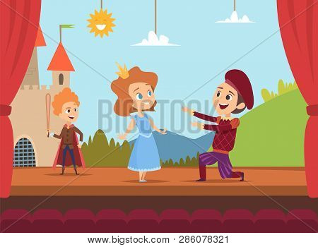 Kids At School Stage. Children Actors Making Big Performance At Scene Dramatic Scenery Vector Illust